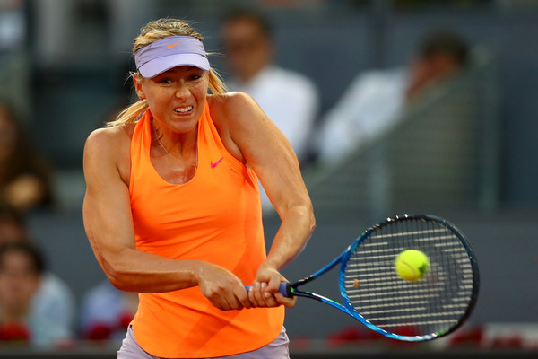 Maria Sharapova hits a strong backhand
