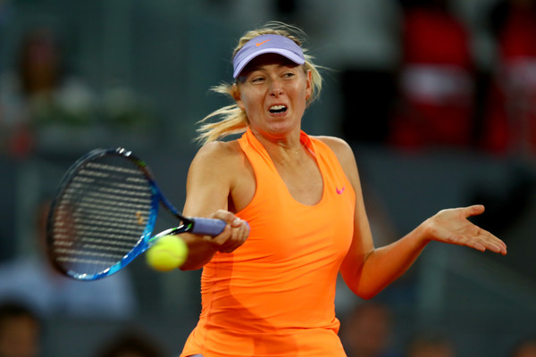 Maria Sharapova hits a powerful forehand