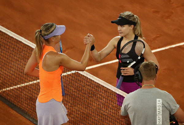 Maria Sharapova and Eugenie Bouchard shake hands after their highly anticipated second-round match at the 2017 Mutua Madrid Open. | Photo: Julian Finney/Getty Images