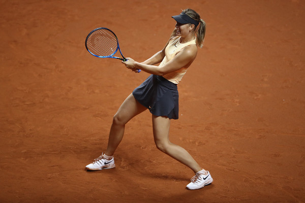 Sharapova struggled on her serve in the early stages of the second set, although she was able to find her way back eventually | Photo: Alex Grimm/Getty Images Europe
