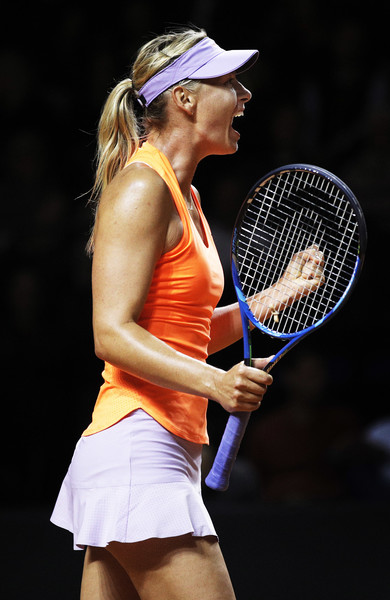 Maria Sharapova celebrates after defeating Ekaterina Makarova in the second round of the 2017 Porsche Tennis Grand Prix. | Photo: Adam Pretty/Bongarts