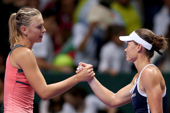 Maria Sharapova and Samantha Stosur exchange a handshake after their match in Istanbul | Photo: Matthew Stockman/Getty Images Europe