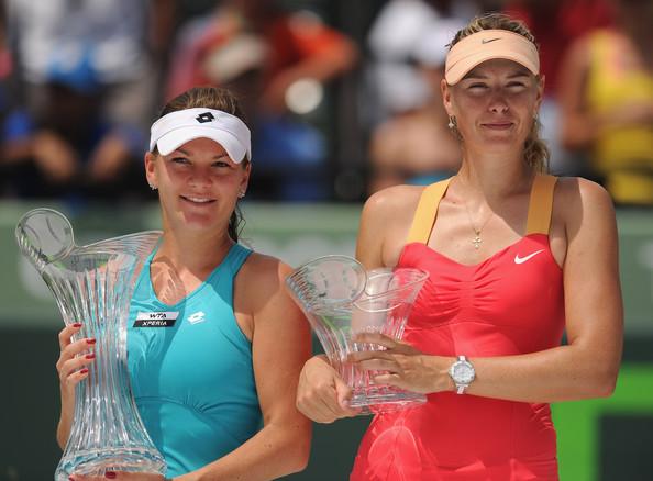 Maria Sharapova along with Agnieszka Radwanska at the 2012 Miami Open | Photo: Michael Regan/Getty Images North America