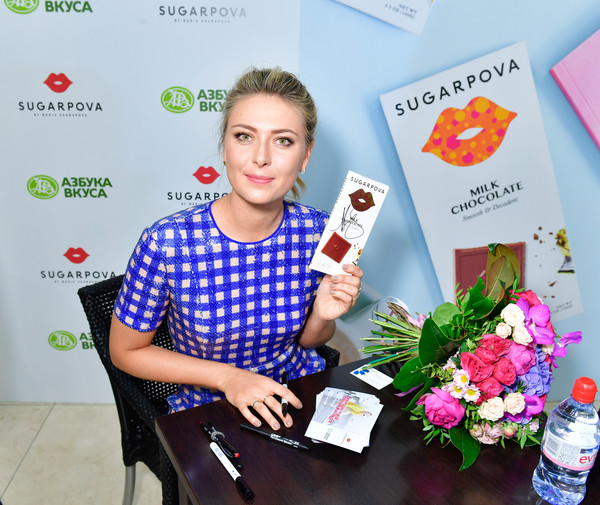 Maria Sharapova at a promotion event for Sugarpova Chocolate | Photo: Victor Boyko/Getty Images Europe