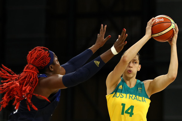 Marianna Tolo of Australia looks to pass against Isabelle Yacoubou of France during preliminary round action at the Olympics in Rio/Photo: Patrick Smith/Getty images