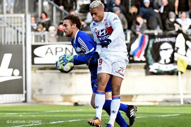 Mariano durante el partido ante el Amiens/Foto:Olympique Lyon