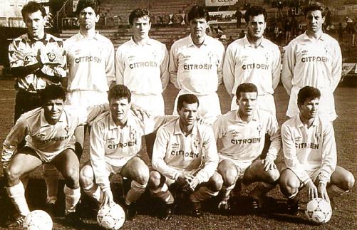 Mario Moraes, primero por la izquierda en la fila inferior, en una alineción de la temporada 1990/91 (Foto: fameceleste.blogspot.com)