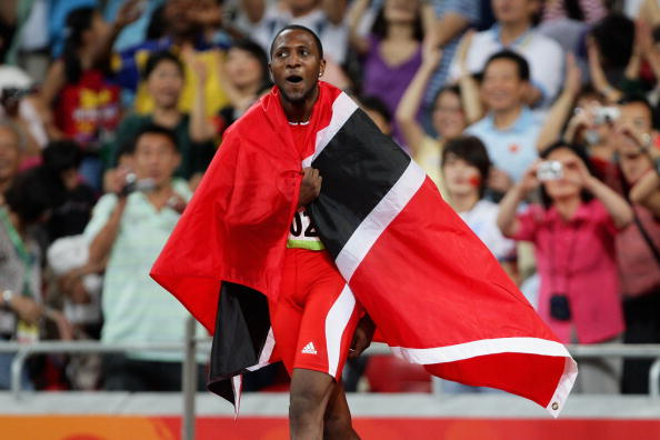 Richard Thompson, pictured celebrating his 100m silver, could get a relay gold (Getty/Mark Dadswell)