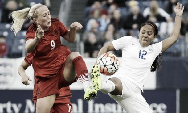 Islacker battles with Alex Scott at the SheBelieves Cup | Credit: Mark Humphrey