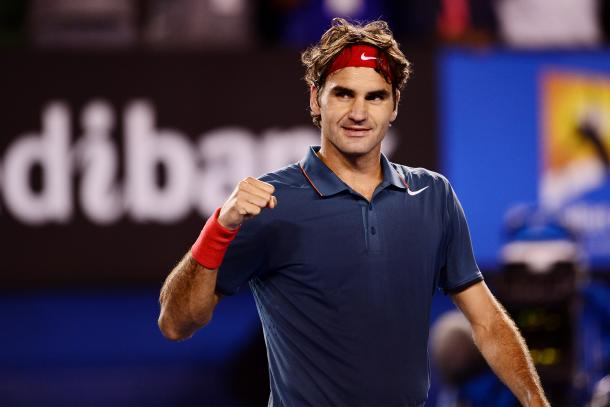 Federer looks to his box during a match at the 2013 Australian Open. Credit: Mark Kolbe/Getty Images