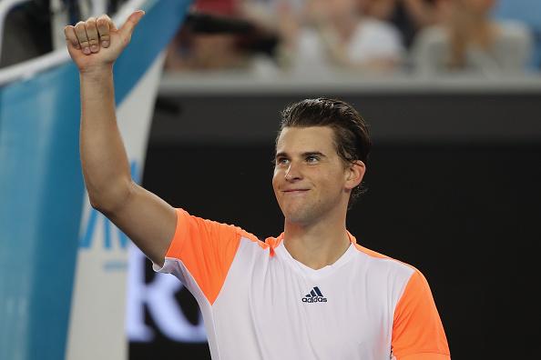 Dominic Thiem celebrates after his second round win over Jordan Thompson (Getty/Mark Kolbe)