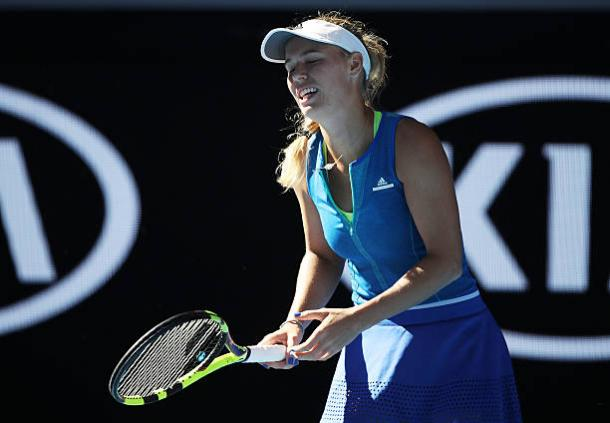 Caroline Wozniacki during her Australian Open loss to Johanna Konta (Getty/Mark Kolbe)