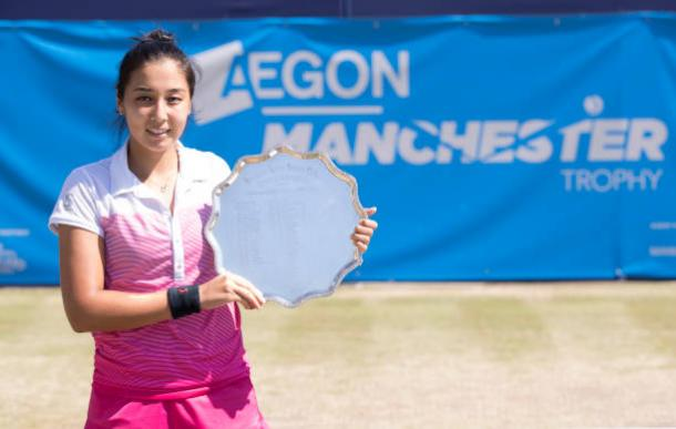Zarina Diyas with the title after winning the Aegon Manchester Trophy last week (Getty/Mark Robinson)