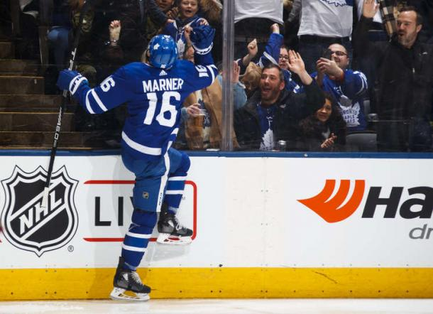 Mitch Marner celebrates one of his two first period goals against the Senators. Photo: Kevin Sousa/Getty Images