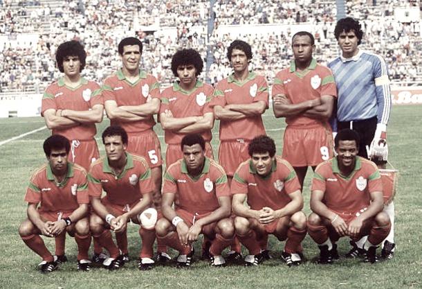 Seleção marroquina na Copa de 1986, quando teve sua melhor classificação (Fonte: Getty Images)