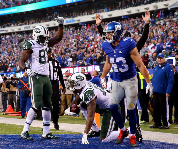 Brandon Marshall celebrates with Quincy Enunwa after scoring a touchdown