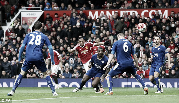Above: Anthony Martial has a shot in the second half in Manchester United's 1-1 draw with Leicester City | Photo: PA