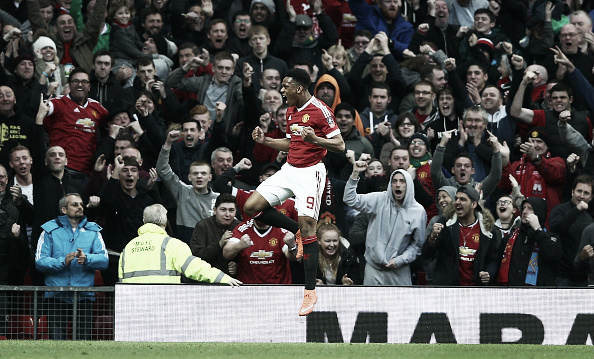 Martial celebrates his late goal | Photo: Clive Brunskill/Getty Images Sport