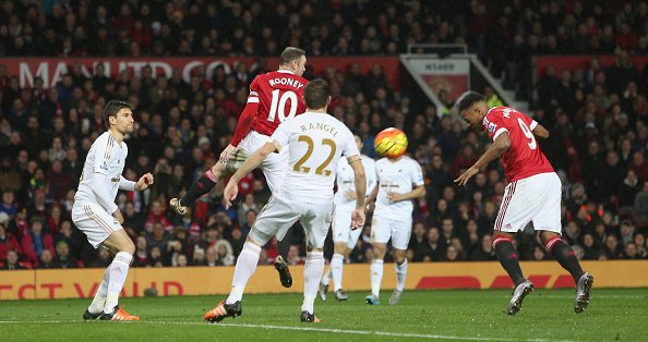 Anthony Martial heads home (John Peters/Manchester United)