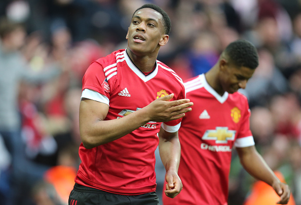 Martial celebrates his late winner against Everton at Wembley | Photo: Tom Purslow/Manchester United