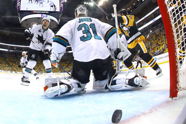 Martin Jones had his eyes peeled on every shot. Credit: Bruce Bennett/Getty Images North America