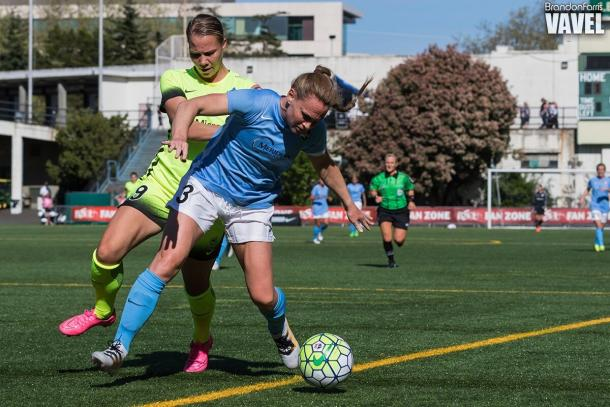 Merritt Mathias has always had the knack to get back on defense even when she played forward as seen here against Sky Blue FC | Source: Brandon Farris - VAVEL USA