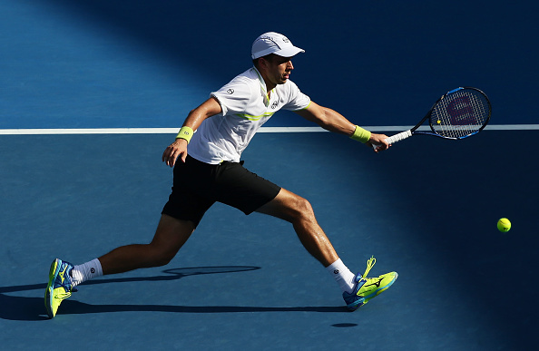 Gilles Muller, pictured here in Sydney, will be looking to come in and volley regularly (Getty/Matt King)