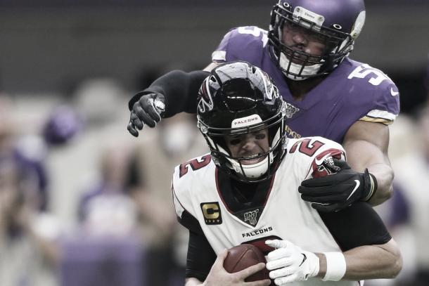 Matt Ryan fue capturado en 4 ocasiones (Vikings.com)