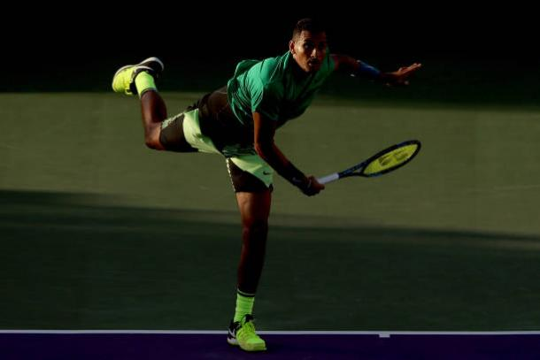 Nick Kyrgios, in action in Miami, will look to serve well in this encounter (Getty/Matthew Stockman)