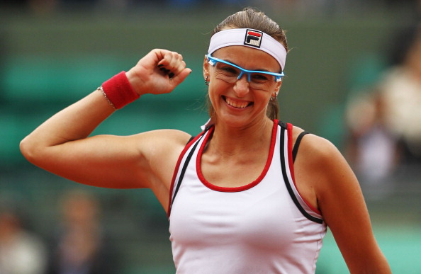 Yaroslava Shevdova celebrates after knocking Li Na out of the French Open in 2012 (Getty/Matthew Stockman)