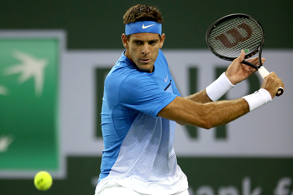 Del Potro in Indian Well first round action (Getty Images/Matthew Stockman)