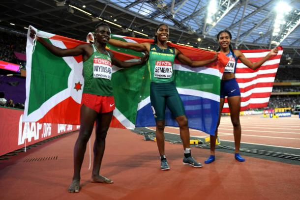 Niyonsaba, Semenya, and Wilson celebrate after the final (Getty/Matthia Hangst)
