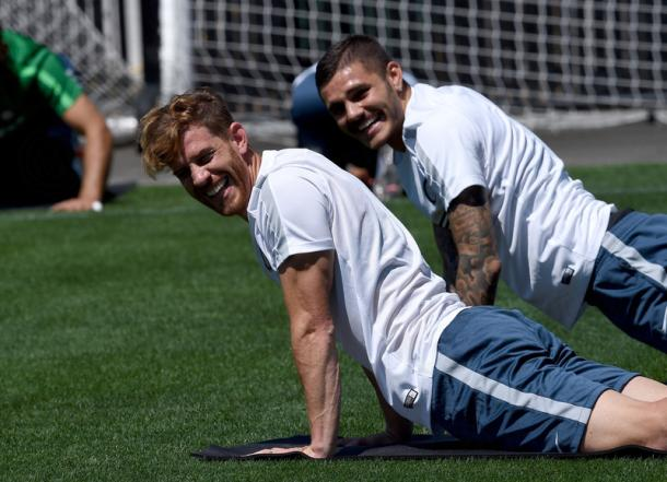 Mauro Icardi and Christian Ansaldi enjoying themselfs at the U.S Tour with Inter Milan  | Photo: Inter Milan's offical website