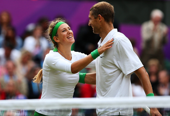 Max Mirnyi and Victoria Azarenka celebrate after winning the gold medal in mixed doubles at the London 2012 Olympics. | Photo:
