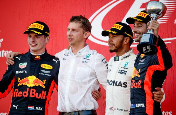 Max Verstappen en el podio de Suzuka. Fuente: Getty Images