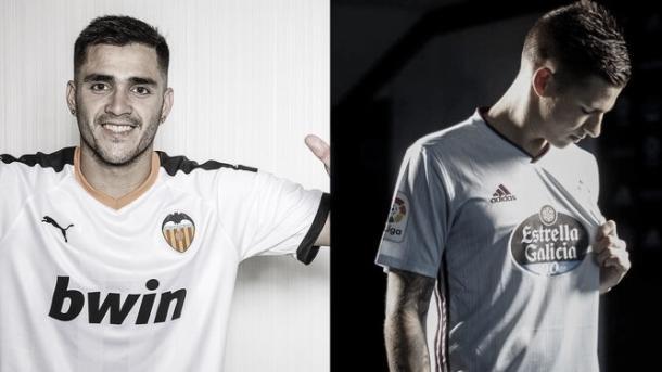 Maxi Gómez y Santi Mina posando con la camiseta de sus respectivos equipos / Foto: Valencia CF/RC Celta