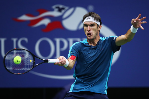 Leonardo Mayer rips a forehand during his loss to Nadal. Photo: Clive Brunskill/Getty Images