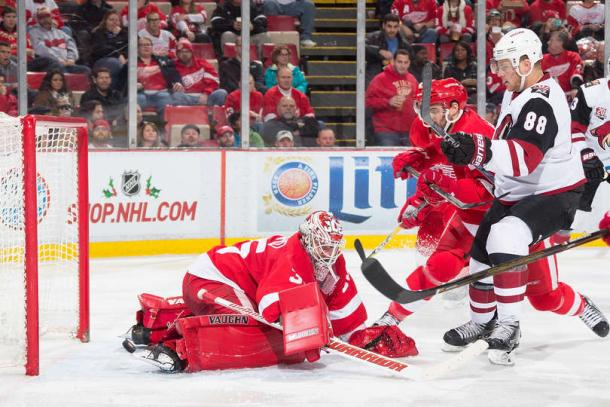 Jamie McGinn scored twice to pace the Coyotes win in Detroit. (Photo by Dave Reginek/NHLI via Getty Images)