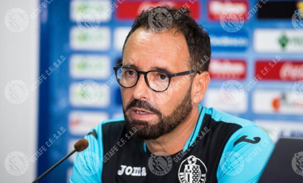 Bordalás en rueda de prensa en la temporada 16/17. Fuente: Getafe C.F.