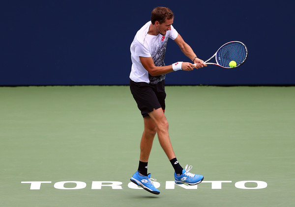 Medvedev hits a backhand during the win over Sock. His backhand came up big in the big moments. Photo: Getty Images