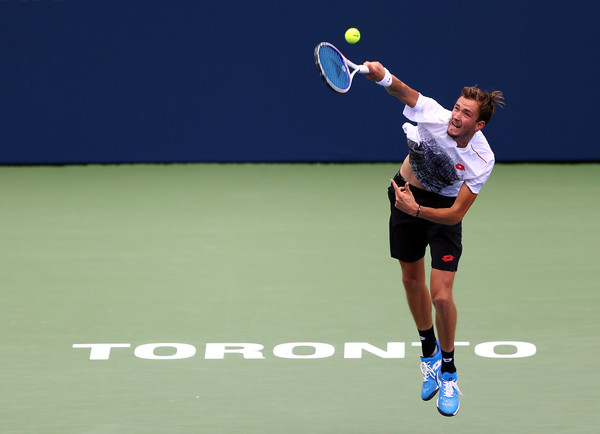 Daniil Medvedev serves on Centre Court on Monday in Toronto. Photo: Getty Images