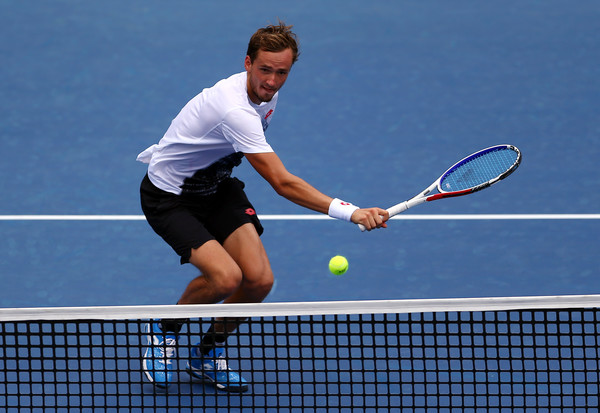 Medvedev attacks the net during his first-round win. Photo: Getty Images