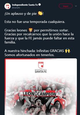 A proósito de las declaraciones de Méndez, este es el mensaje de agradecimiento de Santa Fe hacia su hinchada. Imagen: @SantaFe.
