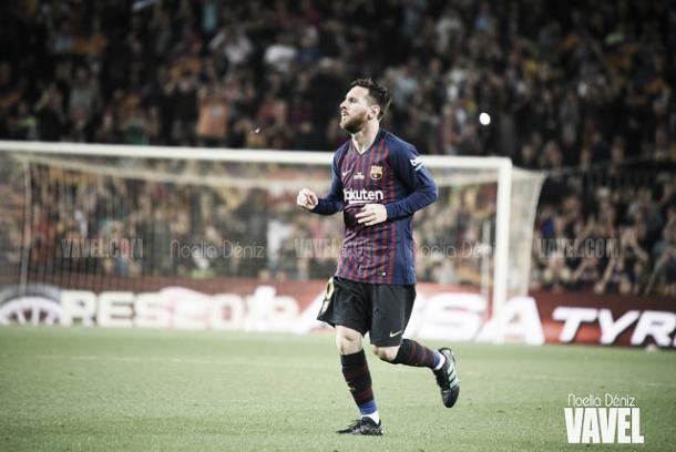 Messi anota el tercero en el Camp Nou | Foto: Noelia Déniz - VAVEL