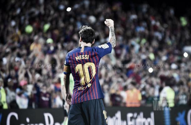 Messi anotó un 'doblete' ante el Tottenham | Foto: Tomás Rubia - VAVEL