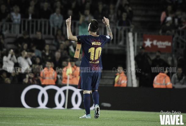 Messi celebra uno de sus cuatro goles frente al Eibar / Foto: Noelia Déniz (VAVEL.com)