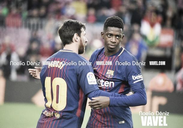 Messi y Dembélé en la delantera azulgrana | Foto: Noelia Déniz - VAVEL