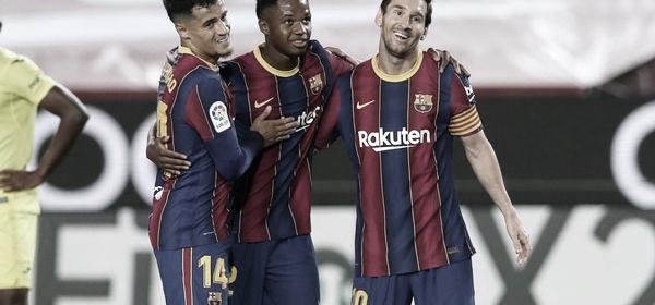Leo Messi, Ansu Fati y Coutinho celebrando uno de los goles frente al Villarreal / Foto: fcbarcelona.es