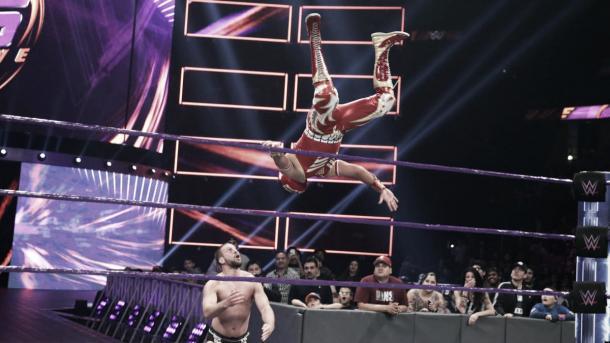 Metalik took to the skies on his debut. Photo- WWE.com
