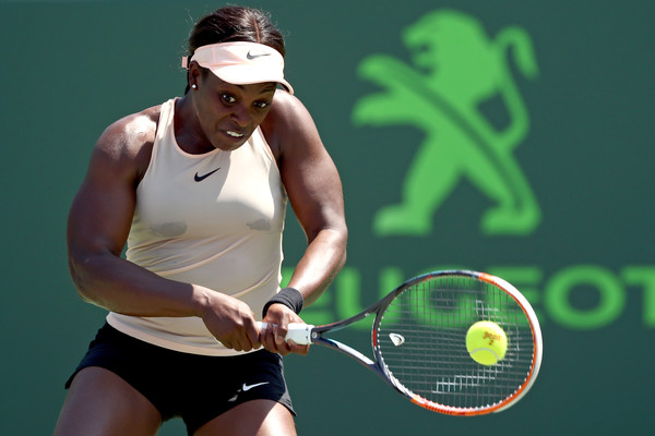 Stephens in action during the fourth round encounter on day eight of the Miami Open (Getty Images North America/Matthew Stockman)